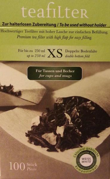 Teefilter Größe XS, mit doppelter Bodenfalte, Teebeutel, Teehaus Taucha
