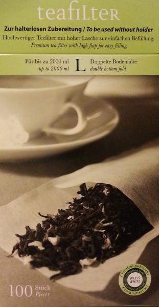 Teefilter Größe L, mit doppelter Bodenfalte, Teetüte, Teebeutel, Papierfilter